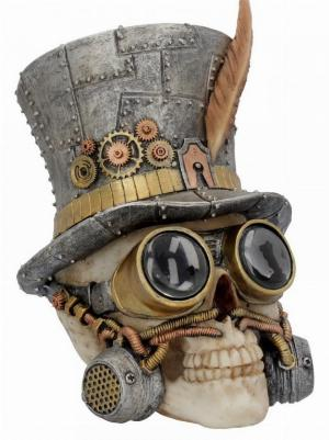 Photo of Count Archibald Top Hat Steampunk Skull Ornament 19cm