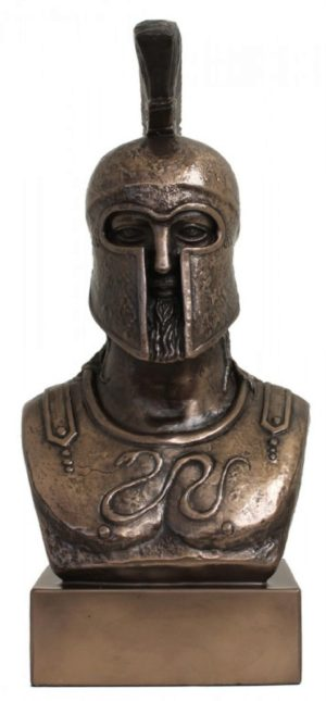 Photo of Greek Warrior Bust Figurine Bronze 30 cm