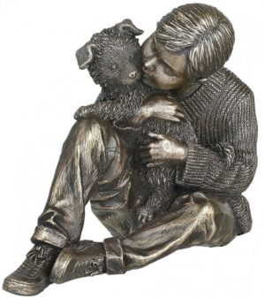 Photo of Grow Together Bronze Boy and Dog Figurine