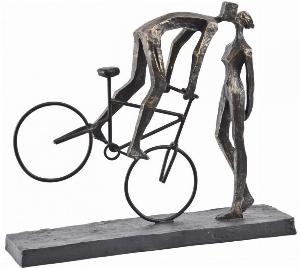 Photo of Man On Bike Kissing Antique Bronze Couple Sculpture Large
