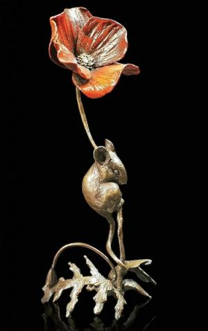Photo of Mouse with Poppy Bronze Figurine (Limited Edition) Michael Simpson