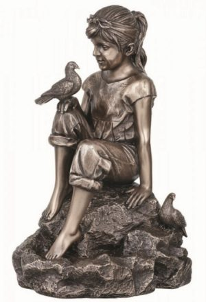 Photo of Peace Girl and Doves Bronze Figurine 20cm