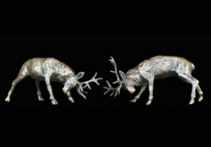 Photo of Rutting Stags Bronze Miniature (Butler and Peach)