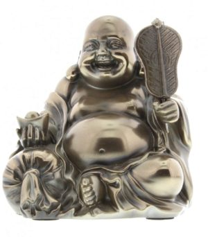 Photo of Sitting Wealth Buddha Figurine Polished Bronze (Juliana) 11cm