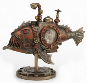 Photo of Steampunk Piranha Submarine Bronze Figurine 22.5cm