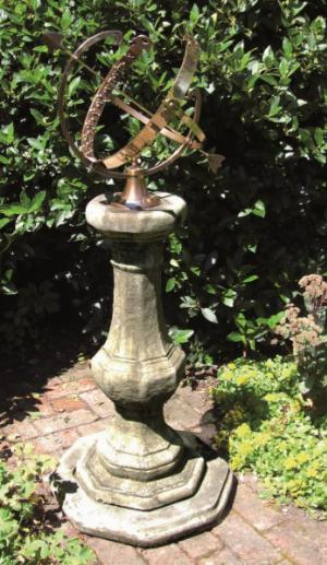 Photo of Stone Pedestal with Large Brass Armillary