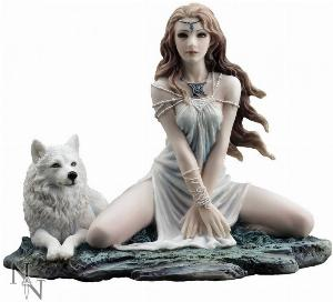 Photo of Storm Maiden Lady and Wolf Figurine 16.5cm
