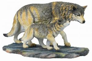 Photo of Wolf and Cub Walking Figurine