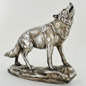 Photo of Antique Silver Howling Wolf Figurine