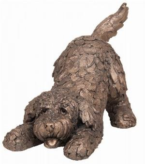 Photo of Barney the Cockapoo Playing Bronze Sculpture (Frith) 25 cm