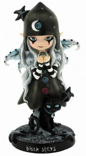 Photo of Black Stars Witch Fairy with Cat Figurine 18 cm