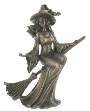 Photo of Bronze Witch Riding Broom Figurine