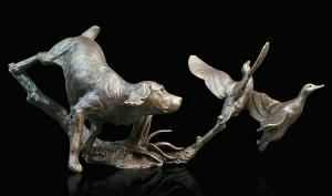 Photo of Cocker Spaniel with Ducks Bronze Figurine (Limited Edition) Michael Simpson