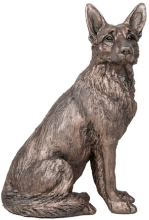Photo of Duke German Shepherd Dog Sitting Bronze Sculpture Harriet Dunn 28 cm