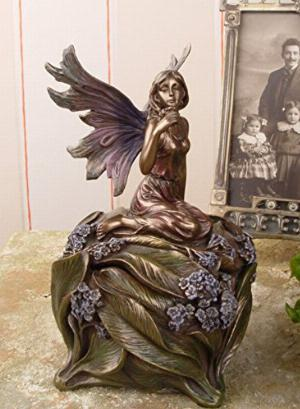 Photo of Fairy Holding Flower Trinket Box Bronze