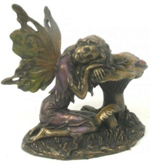 Photo of Fairy Sleeping on Mushroom Bronze Figurine