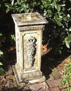 Photo of Floral Stone Plinth with Brass Sundial