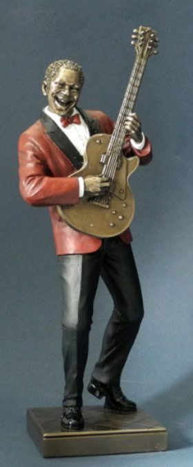 Photo of Guitar Player Jazz Bronze Figurine