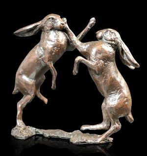 Photo of Hares Boxing Bronze Figurine (Limited Edition) Michael Simpson