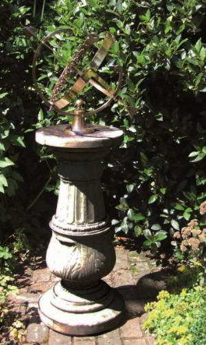 Photo of Large Stone Pedestal with Large Brass Armillary