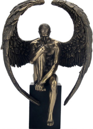 Photo of Male Angel on Plinth Bronze Figurine 26cm