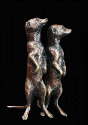 Photo of Meerkat Pair Standing Bronze Miniature (Butler and Peach)