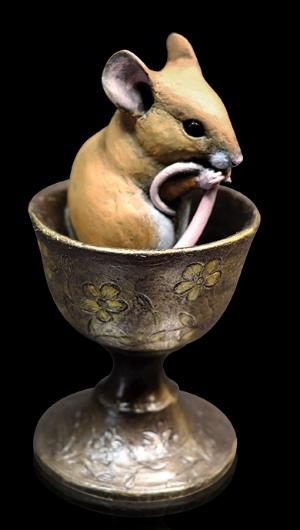 Photo of Mouse in Egg Cup Bronze Figurine Michael Simpson
