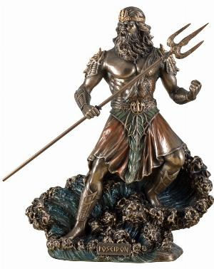 Photo of Poseidon God of the Sea Bronze Figurine 20 cm