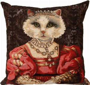 Phot of Royal Cat With Crown I Tapestry Cushion
