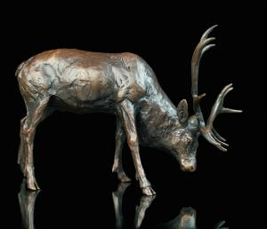 Photo of Stag Grazing Bronze Sculpture (Limited Edition) Michael Simpson