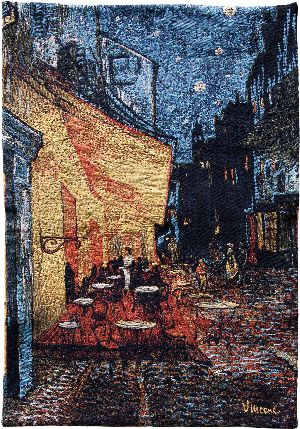 Phot of Van Gogh Café Terrace At Night Wall Tapestry