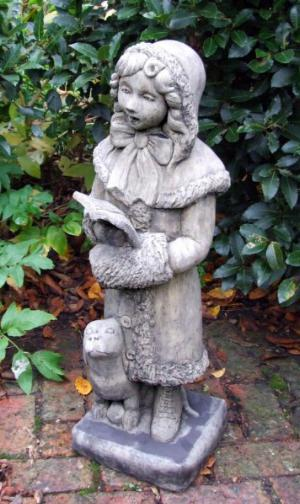 Photo of Victorian Caroller Girl with Dog Stone Statue 86 cm