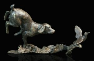 Photo of Cocker Spaniel with Woodcock Bronze Figurine (Limited Edition) Michael Simpson