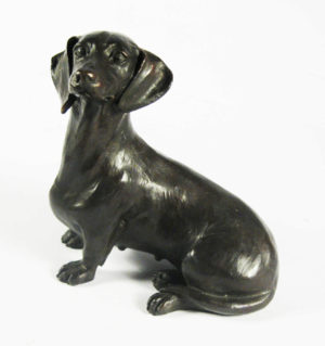 Photo of Dachshund Sitting Bronze Sculpture