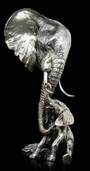 Photo of Elephant and Calf Figurine 39 cm Keith Sherwin Large