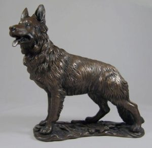 Photo of German Shepherd Bronze Dog Sculpture