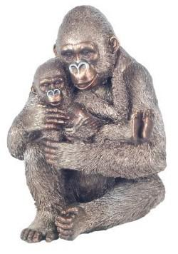 Photo of Gorilla and Baby Bronze Figurine