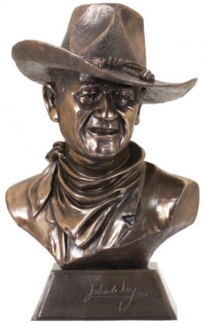 Photo of John Wayne (Licensed) Bronze Cowboy Bust 39cm with Certificate