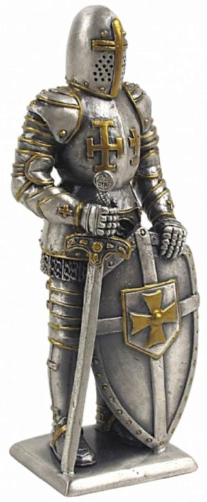 Photo of Medieval Knight with Sword and Shield Pewter Figurine