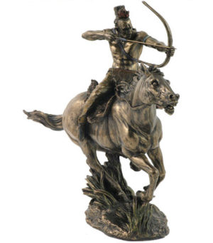 Photo of Mohican Warrior on Horseback Bronze Figurine