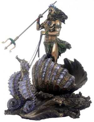 Photo of Poseidon God of the Sea Seahorse Chariot Bronze Figurine 30 cm
