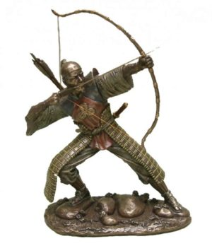 Photo of Samurai Drawing Bow Bronze Figurine