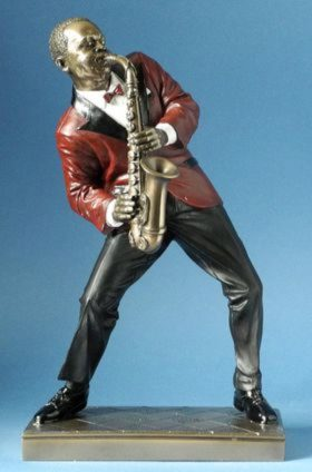 Photo of Saxophone Player 2 Jazz Bronze Figurine