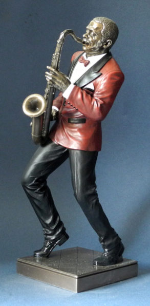 Photo of Saxophone Player Jazz Bronze Figurine