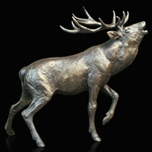 Photo of Stag Roaring Bronze Sculpture (Limited Edition) Michael Simpson