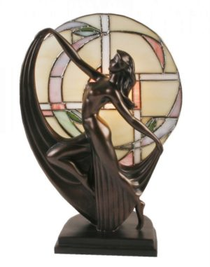Photo of Art Deco Bronze Lady Dancer Lamp Glass Tiffany
