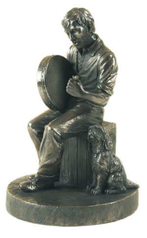 Photo of Bodhran Player Bronze Figurine