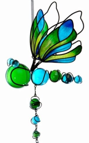 Photo of Green and Blue Dragonfly Springy Wind Chime