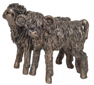 Photo of Highland Cattle Heifer Calves Bronze Sculpture