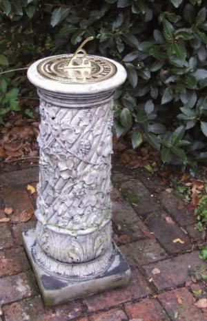 Photo of Ivy Stone Column with Brass Sundial
